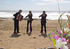 ...to a three-piece string quartet on the beach